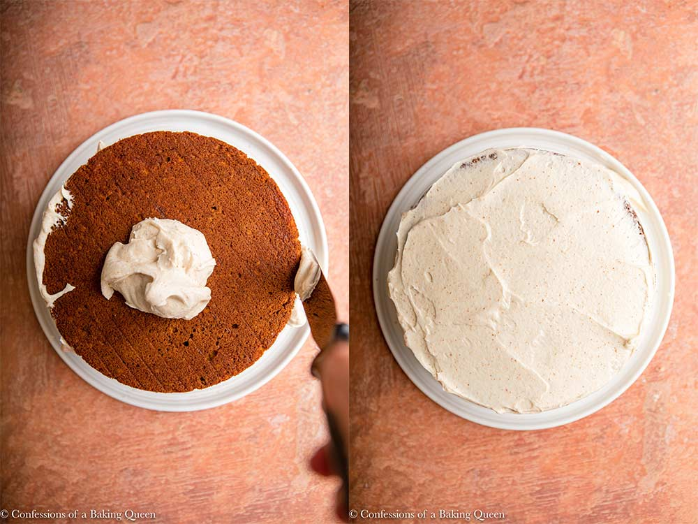 hand frosting layer cake sides then frosting the top of the cake on a white plate on a reddish brown surface