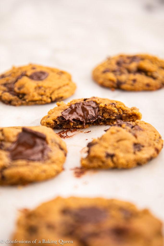 broken in half pumpkin chocolate chip cookie