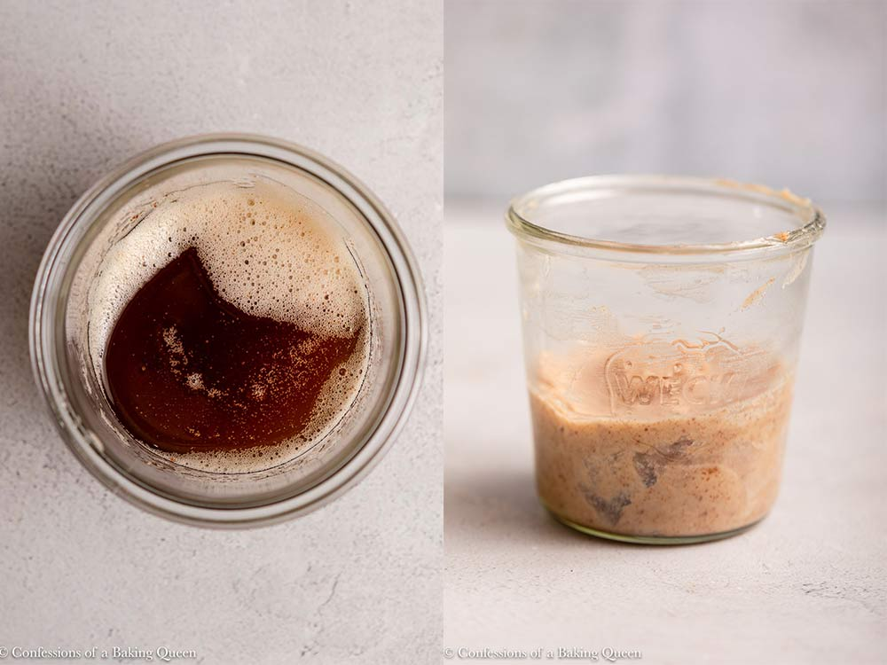 brown butter melted and re solidified in a glass jar on a grey surface