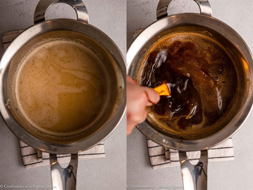 molasses mixed into butter Guinness mixture in a metal pot on a light grey surface
