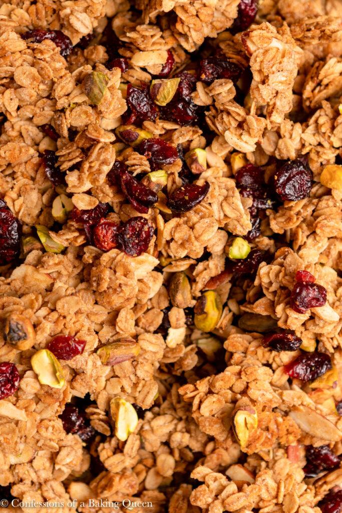close up of cranberry pistachio granola