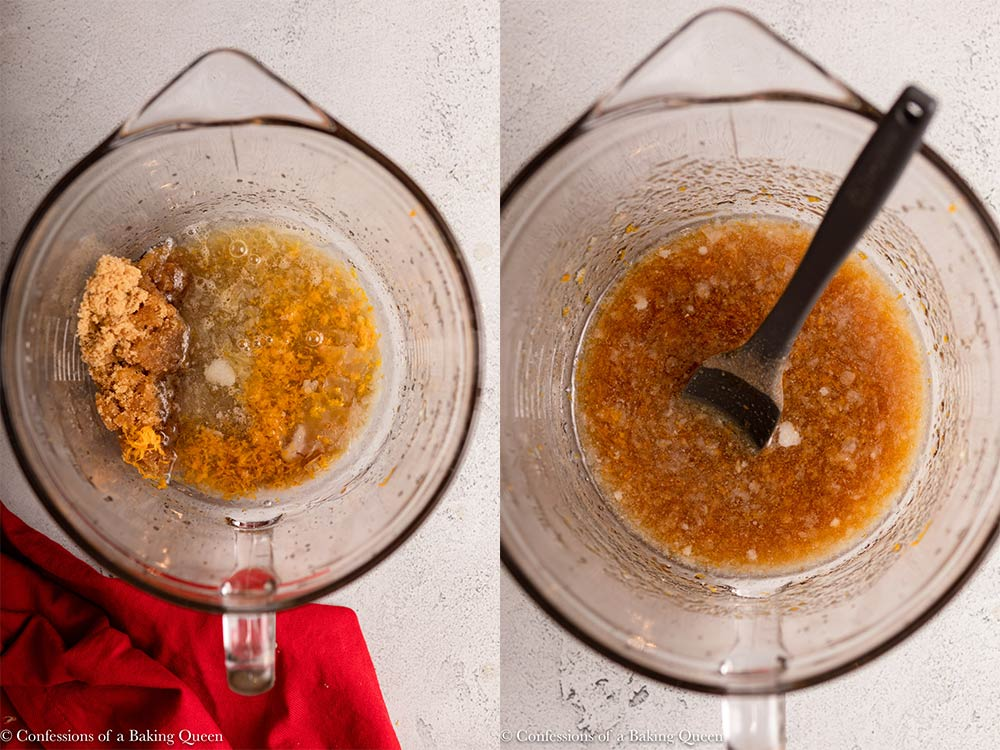 liquid ingredients for Christmas granola mixed together in a glass bowl on a grey surface