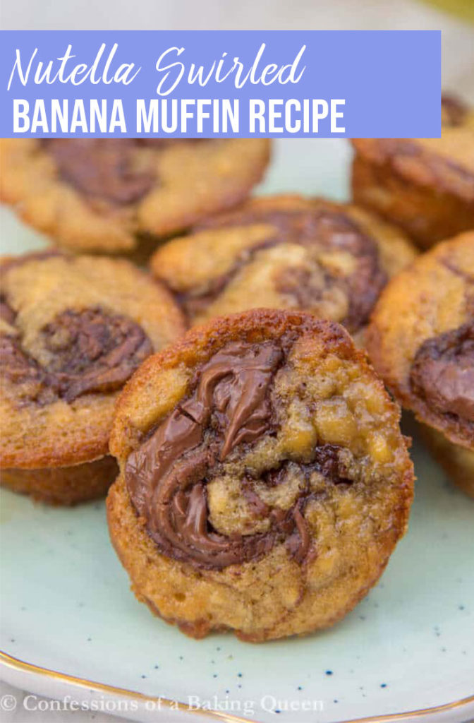 Nutella Banana Muffins served on a blue plate