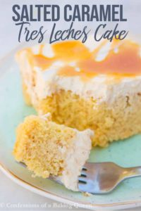 slice of salted caramel tres leches cake