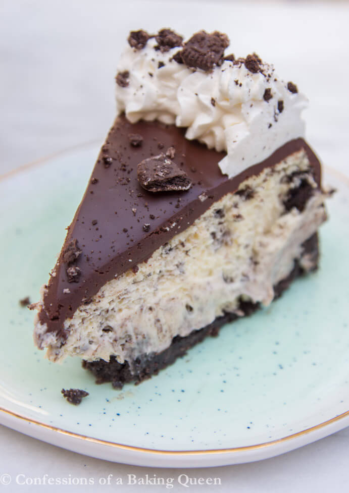 Slice of Oreo Cheesecake on a blue plate