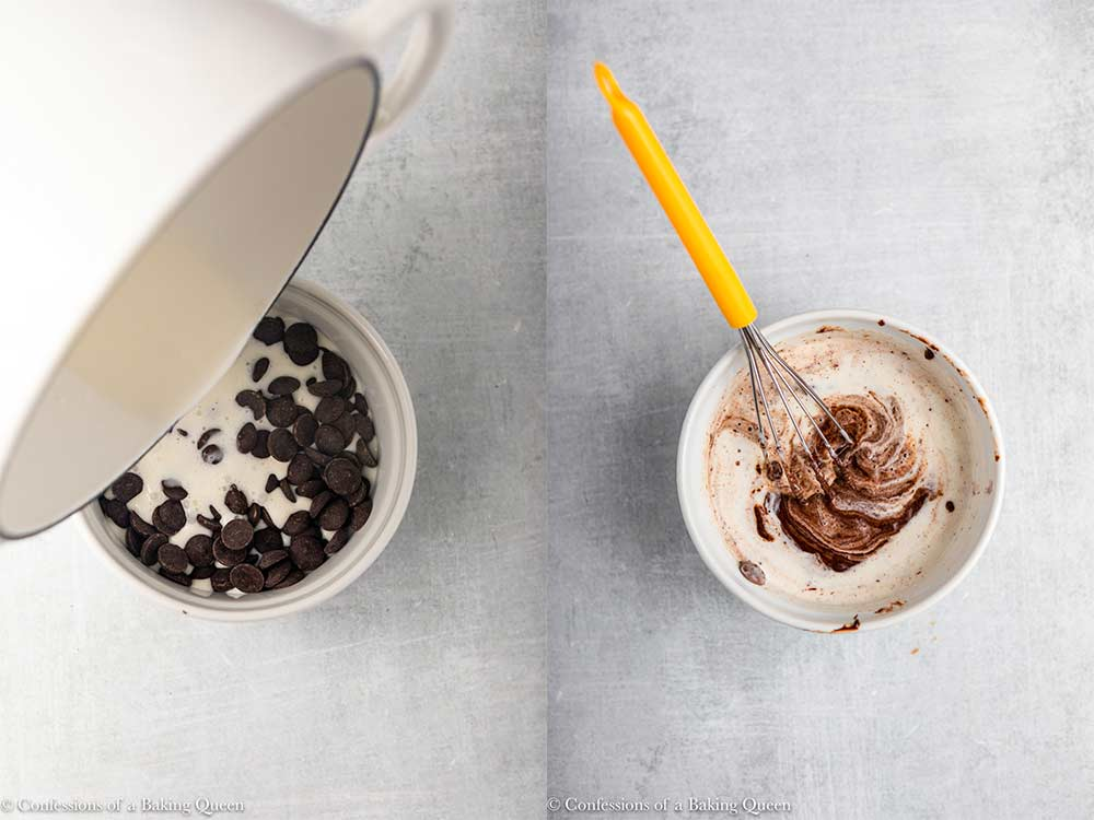 heavy cream poured into chocolate callets and then a whisk mixing together_