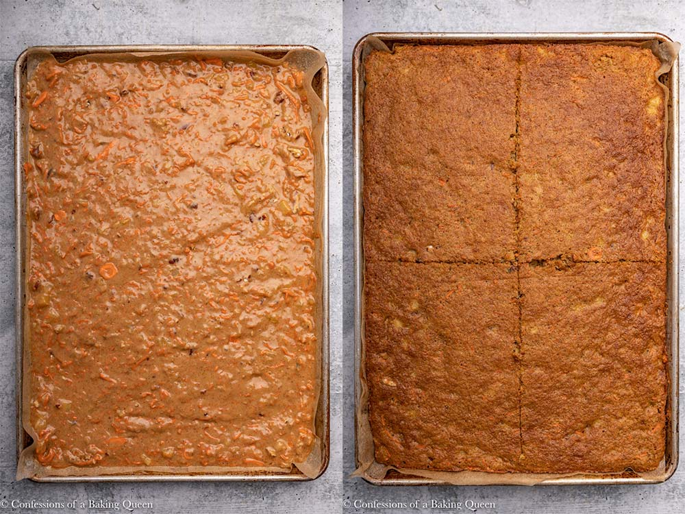 carrot cake unbaked and baked in a sheet pan on a grey background