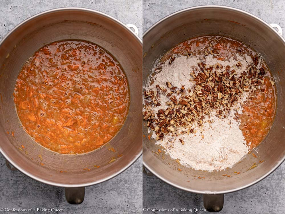 flour and pecans added to carrot cake wet ingredients on a grey background