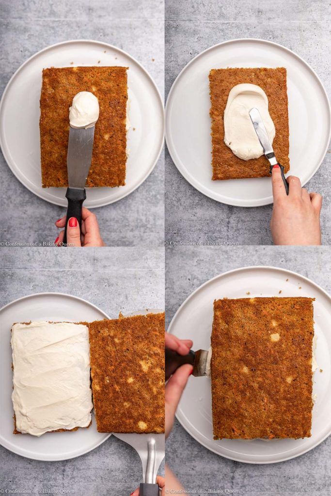 how to layer a carrot cake steps on a grey background