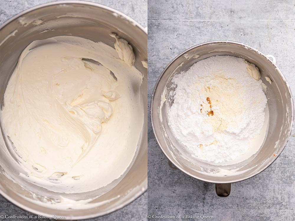 whipped cream cheese and butter in a metal bowl with powdered sugar, vanilla, and salt on a grey background