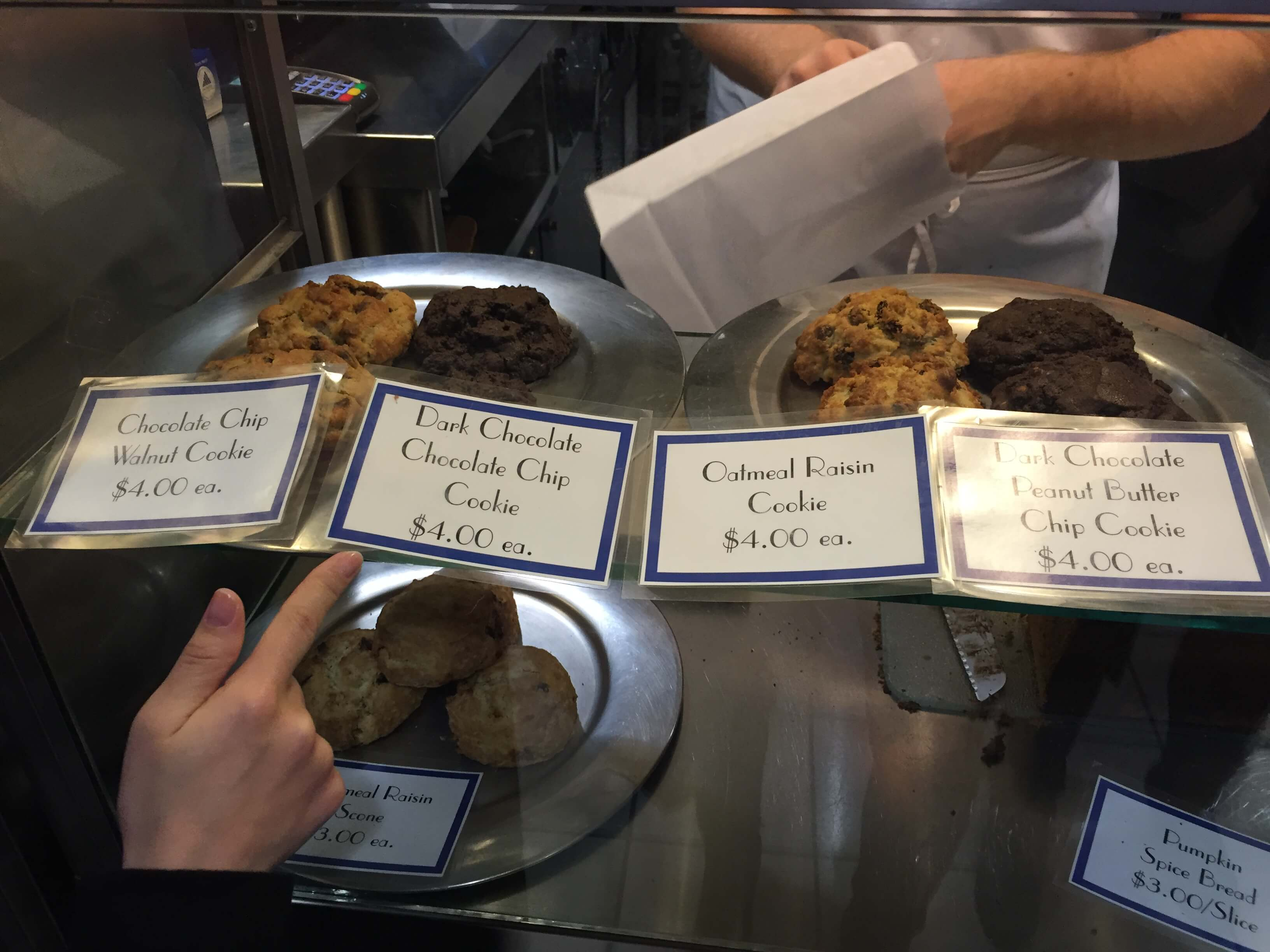 cookies in the bakery case at levain bakery in new york city
