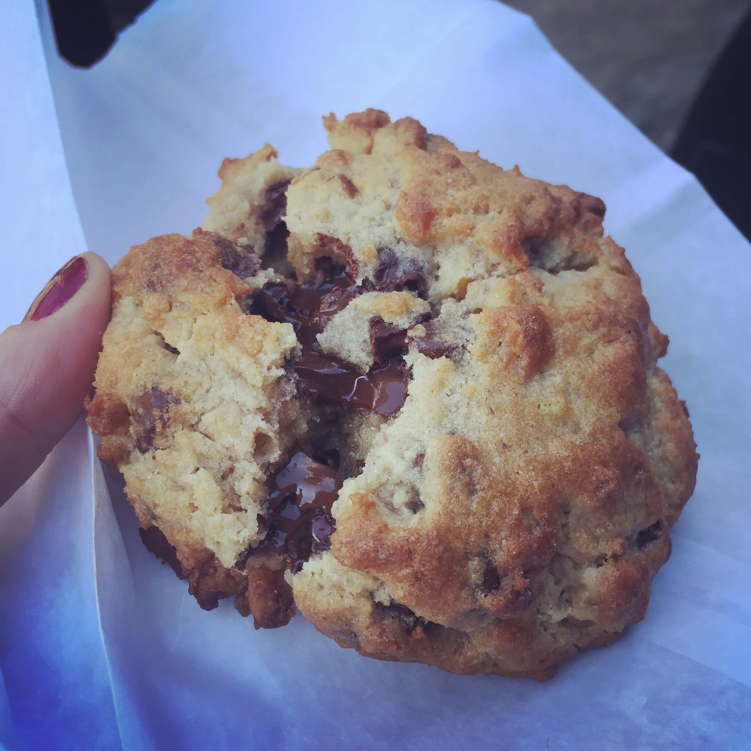 chocolate chunk walnut cookie on a white bag from Levain Bakery in new york