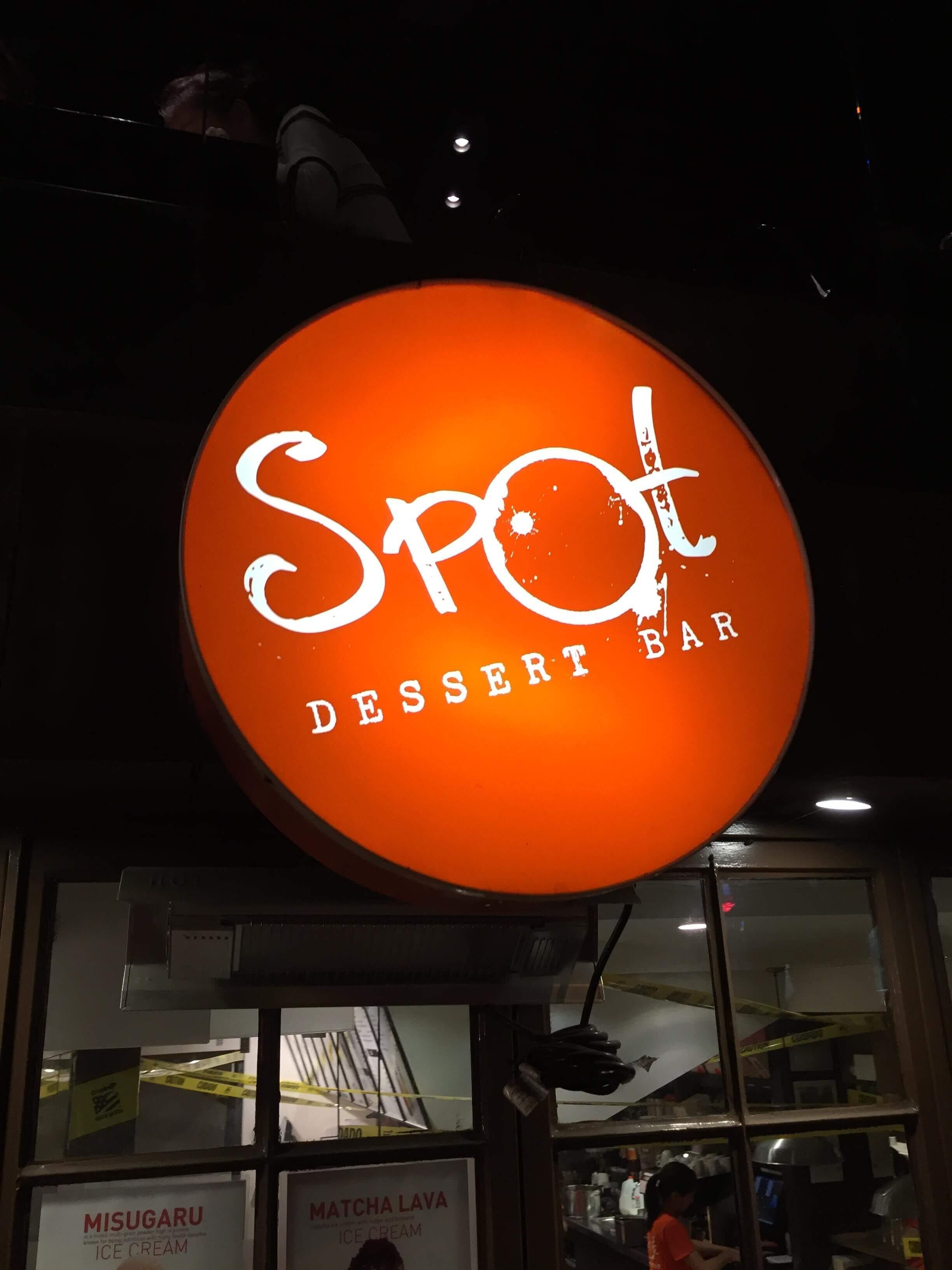 outside sign of spot dessert bar in new york