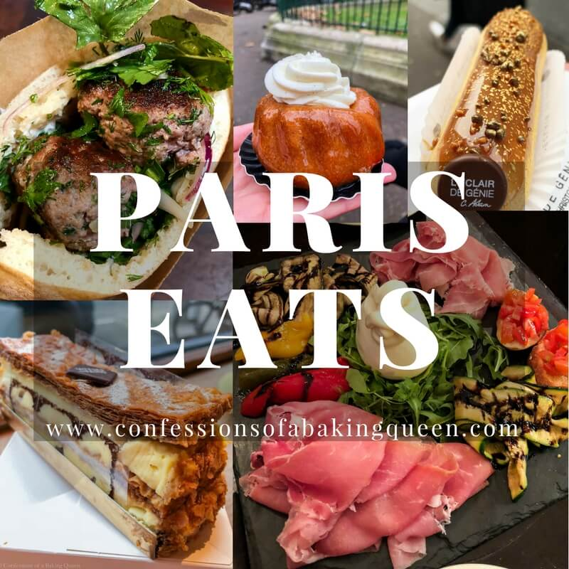 collage of food you can purchase in paris- a lamb meatball sandwich, a rum ba ba, eclair, napoleon, and charcuterie board