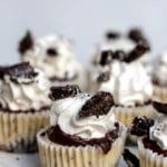 Mini Oreo Cheesecakes on a white cake stand
