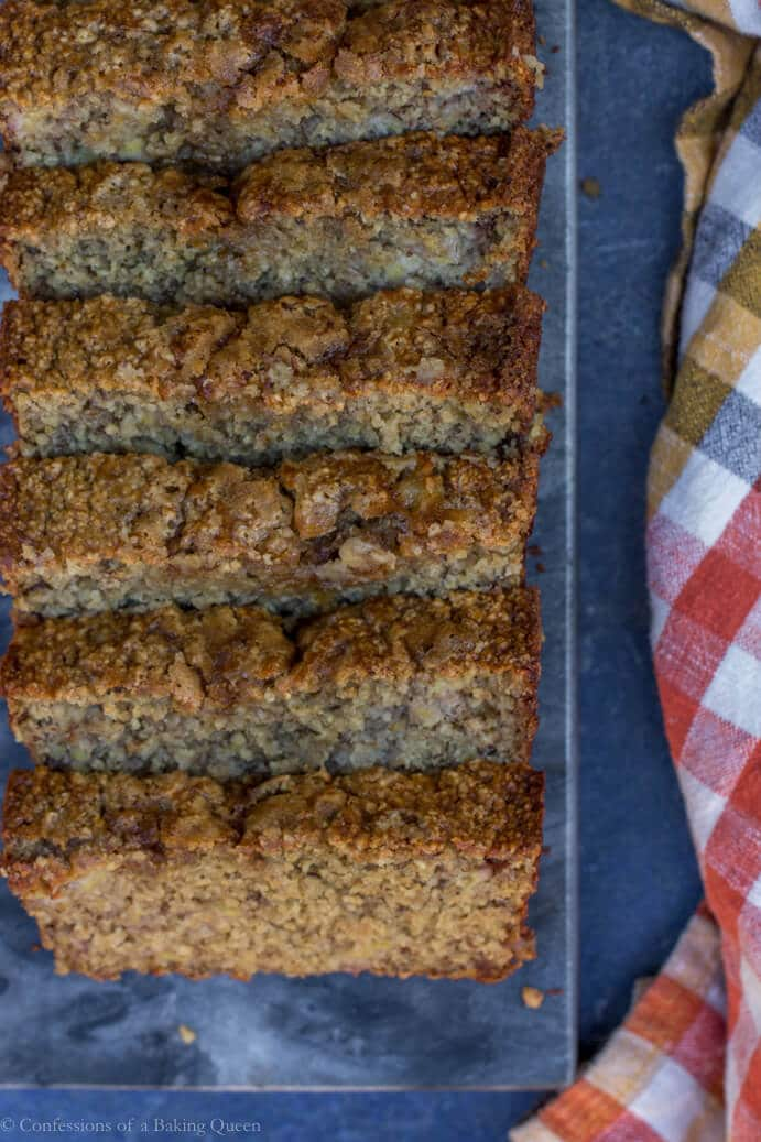 Oat Flour Skinny Banana Bread slices on a dark surface next to an orange and white checkered linen