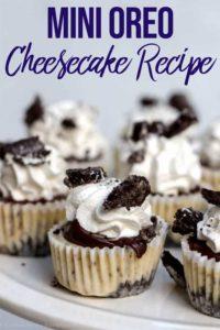 mini oreo cheesecake recipe on a white cake plate