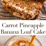 sliced carrot pineapple banana loaf cake on a wire rack next to a white linen on a light grey surface