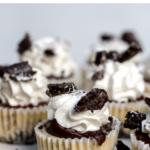 Mini Oreo Cheesecake Recipe served on a white cake plate