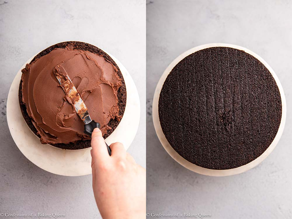 chocolate ganache spread on top of a layer cake
