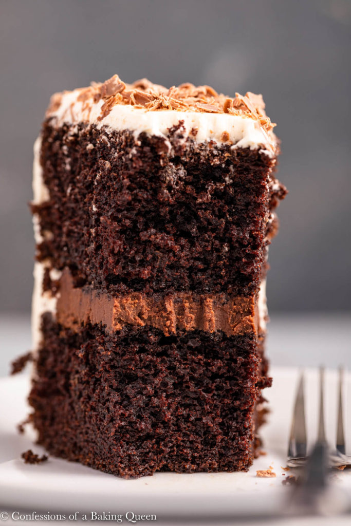 close up of a slice of guinness chocolate cake