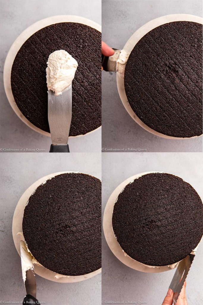 frosting being spread on a chocolate cake