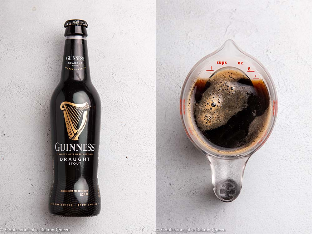 guinness bottle and measuring cup of guinness