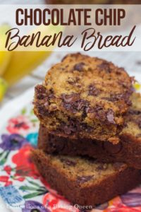 chocolate chip banana bread pieces on a colorful plate