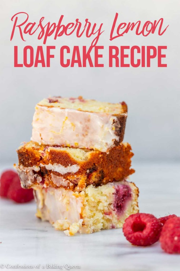 slices of raspberry lemon loaf cake stacked on top of each other on a marble surface