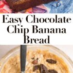 chocolate chip banana bread slices on a colorful plate and bowl of banana bread batter