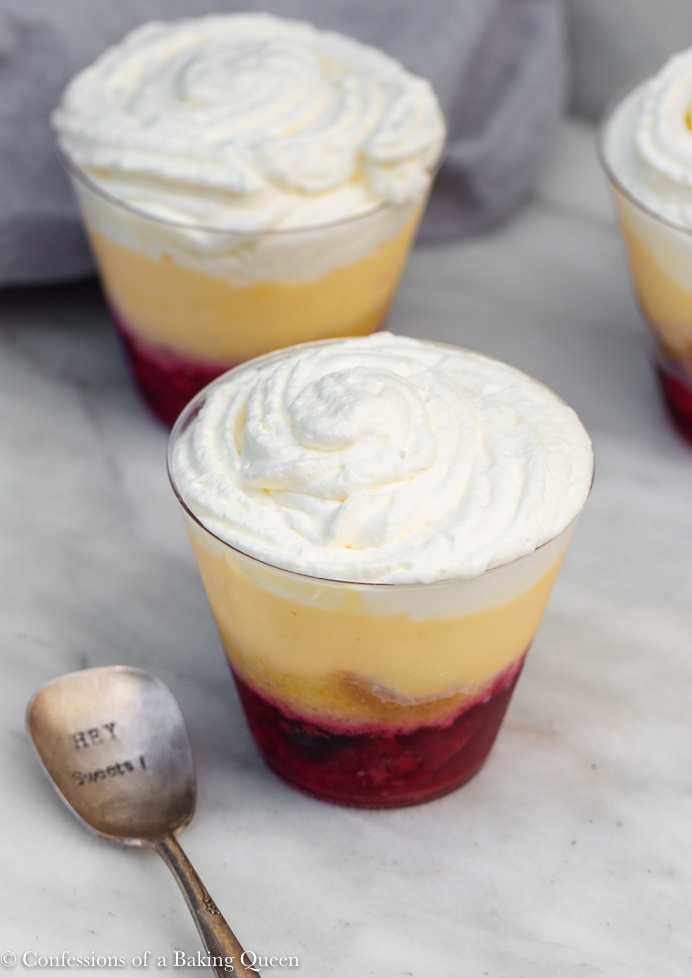 showing mini english sherry trifle on top