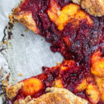 Peach Raspberry Galette Recipe with a slice cut out