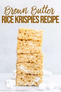 stack of brown butter rice krispies