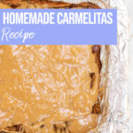 caramel poured on top of chocolate and crust for a carmelitas recipe
