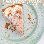 slice of chai cheesecake on a blue plate