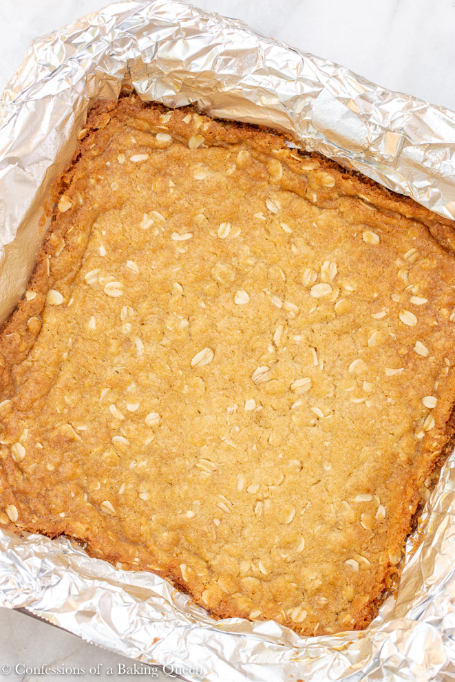oat crumble crust baked to golden brown for a carmelitas recipe
