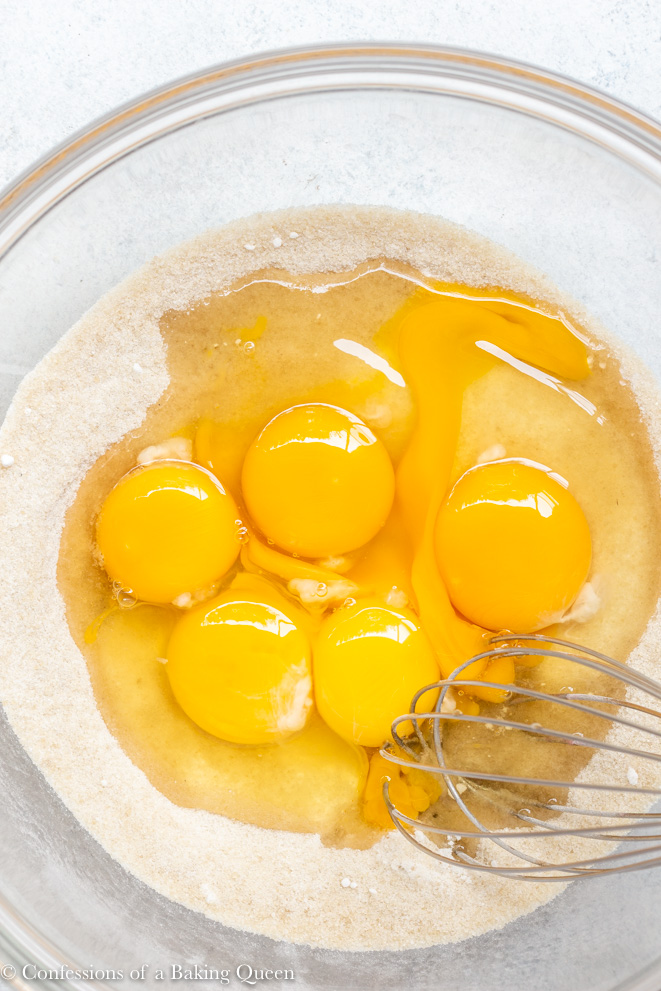 eggs added to sugar for a how to make lemon bars recipe