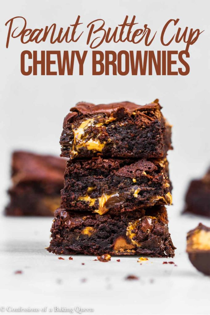stack of peanut butter brownies