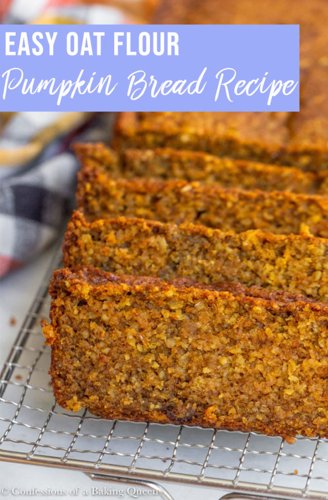 oat flour pumpkin bread sliced on a wire rack