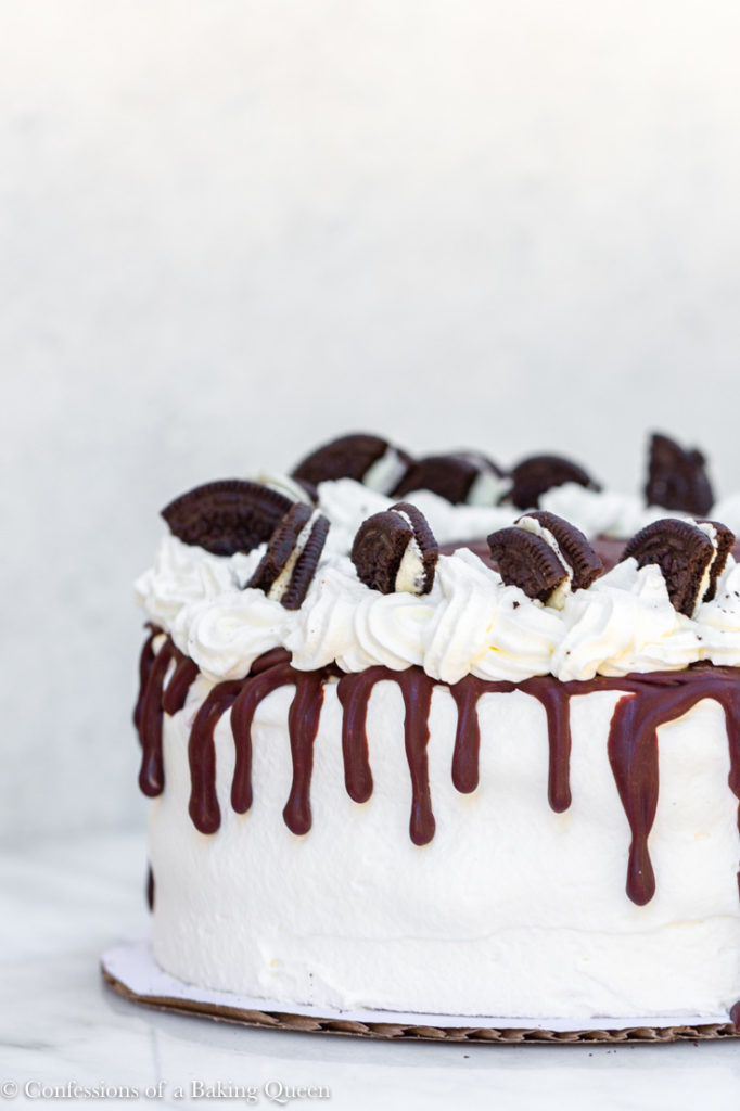 oreo ice cream cake on a white surface