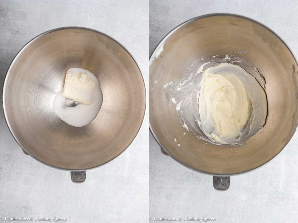 granulated sugar and cream cheese in a metal bowl sitting on a grey surface