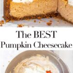 pumpkin cheesecake cut open and a metal bowl with pumpkin cheesecake ingredients