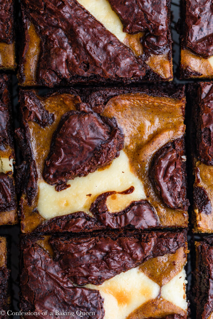 up close of pumpkin cheesecake swirled brownies