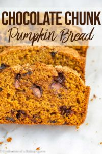chocolate chunk pumpkin bread slices on a marble surface