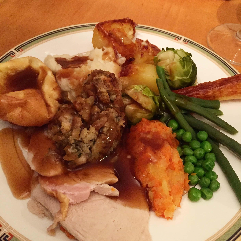 roast dinner on a plate