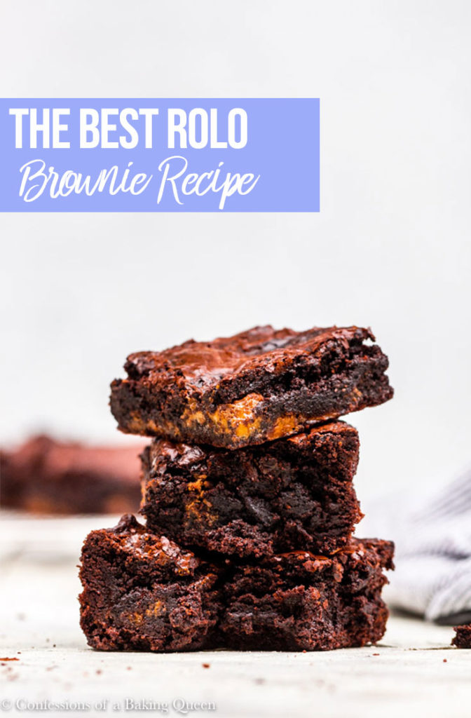 stack of three rolo brownies