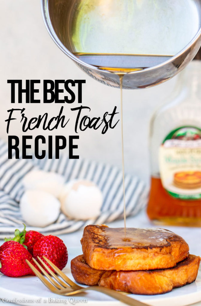 small saucepan pouring warmed syrup on top of the best french toast recipe