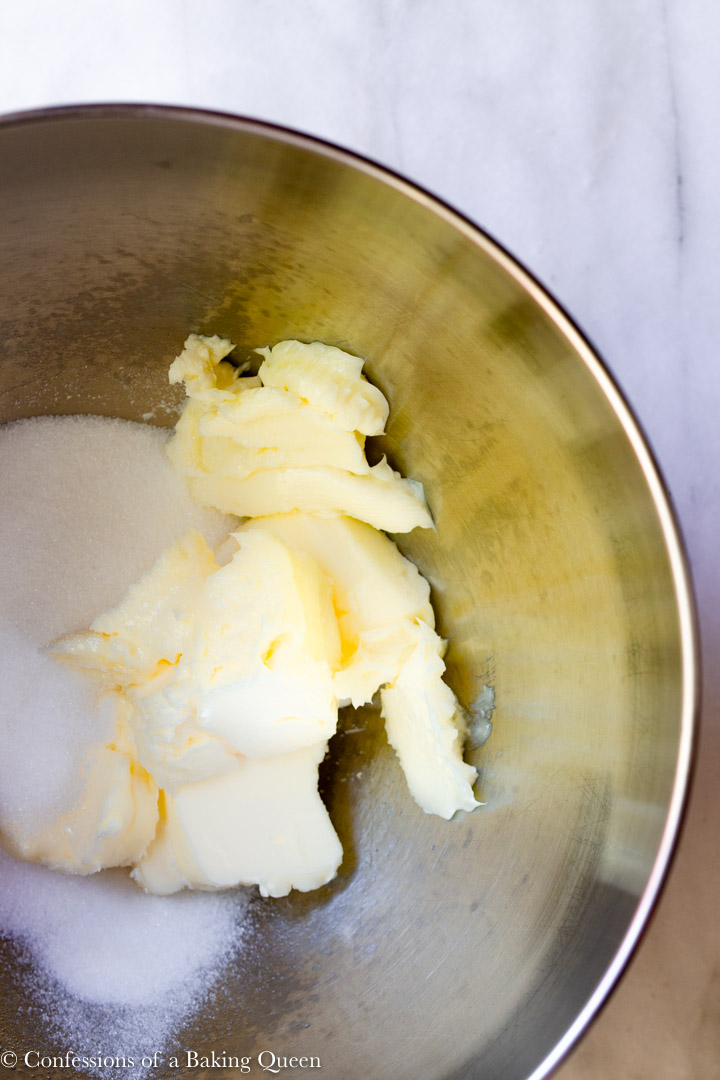 sugar and butter in a metal mixing bowl