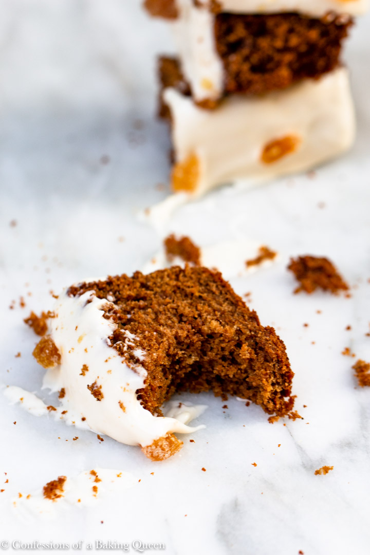 bite missing from a Gingerbread Loaf Recipe