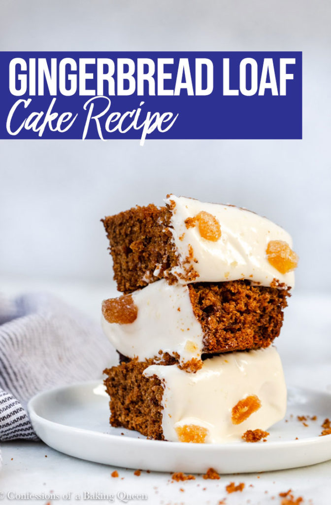 Gingerbread Loaf Recipe pieces stacked high on a white round plate